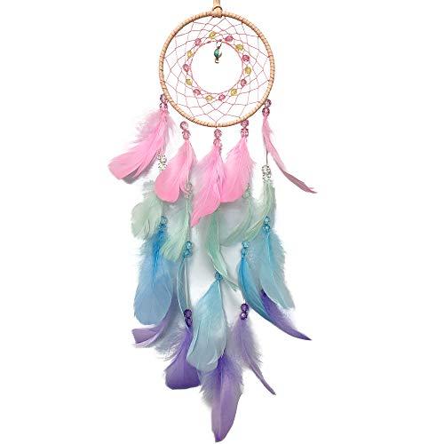 AWLEE Colorful Dream Catchers, Handmade Feather Native American Circular Net for Kids Boys Girls Bedroom Wall Hanging Decoration Decor Nursery Wall Art Ornament Craft