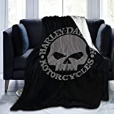 DGAGD Harley Davidson Skull The blanket is made of flannel super quality fabric it is very soft and can also be used as an air-conditioning quilt,50'x40'