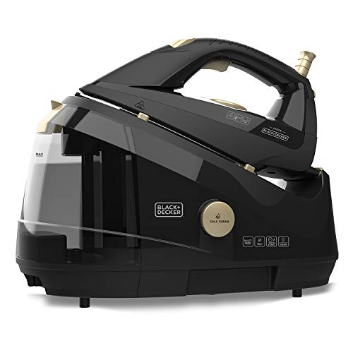 Black+Decker BXSS2400E Ferro da Stiro con Caldaia 2400 W, Piastra in Ceramica, Getto di Vapore 150g/min, Vapore Continuo da 0-45 g/min, Stiratura Verticale, Nero