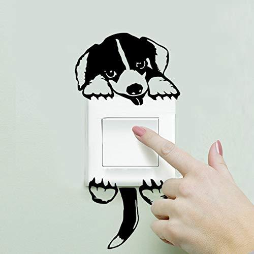 JIAQI Dibujos Animados extraíble Lindo Encantador Cachorro de Perro Negro Interruptor de Enchufe Etiqueta de la Pared calcomanía de Vinilo decoración del hogar Pegatinas de Animales en la Pared