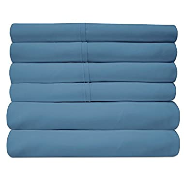 Sweet Home Collection Quality Deep Pocket Bed Sheet Set-2 Extra Pillow Cases, Great Value, Queen, Denim, 6 Piece