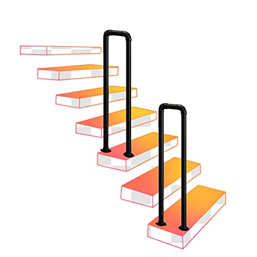 Pasamanos para exteriores para escalones exteriores, pasamanos de hierro forjado, pasamanos de escalera de tubo galvanizado negro de 1 paso, barra de soporte antideslizante de seguridad para i