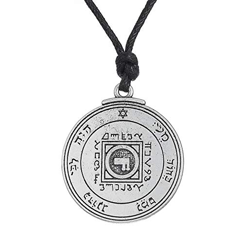 VAWAA Schlüssel von Solomon ultimative Liebe Talisman Anhänger Kreis Halskette Amulett Wicca Zinn Männer Talisman Schmuck