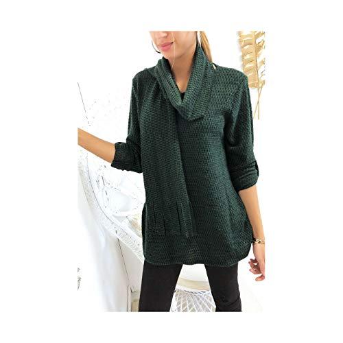 Miss Wear Line tuniek met groen en zwart motief, 3/4 mouwen, met sjaal (K-6/1-17656-groen)
