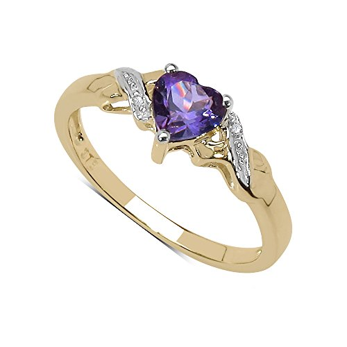The Amethyst Ring Collection: 9ct Gold Heart Shaped Amethyst with Diamond Set Shoulders Engagement Ring (Size K)