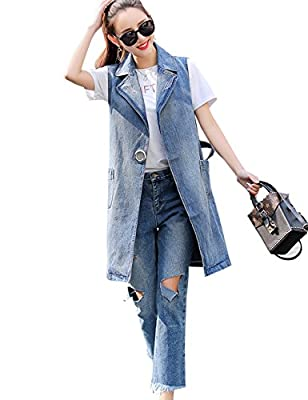 Flygo Womens Casual Button Up Sleeveless Denim Jean Mid Long Vest Gilet Jacket