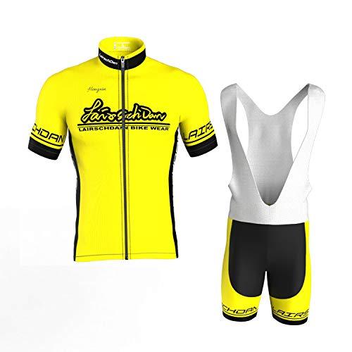 COMEIN Herren Radtrikot Set Fahrrad Trikot Radsport-Trägerhosen für Herren Kurzarm Langarm + Radhose mit Sitzpolster Radsport-Anzüge (Gelb kurze, XXXL)