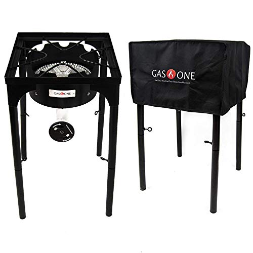 GasOne B-3600H Propane Cover 200,000-BTU Brewing Burner with Adjus, 15.75 x 15.75 x 16.00 inches, Black