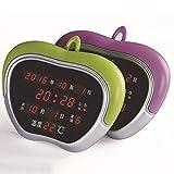Apple Wecker LED Digital Ewiger Kalender Elektronische Uhr Wanduhr Stille Nacht Kinderschüler,Green