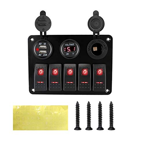 HCO-YU 5 Panel de interruptores de Rocker Rocker 12 24V Combinación de salida DUAL DUAL USB Slot Socket Tensión digital Ajuste para vehículos de vehículos de automóviles marinos Panel de interruptor d