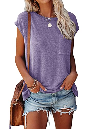 Summer Crew Neck T Shirts for Women Short Sleeve Loose Fitting Tops with Pocket Lavender XX-Large