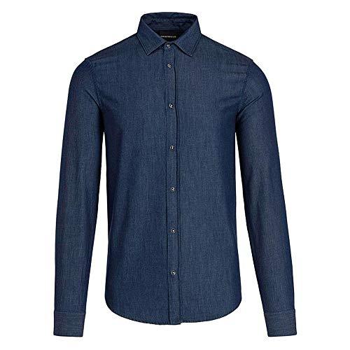 Emporio Armani L/S Slim Fit Blue Denim Shirt Weiß 6G1C67 Gr. XL, blau