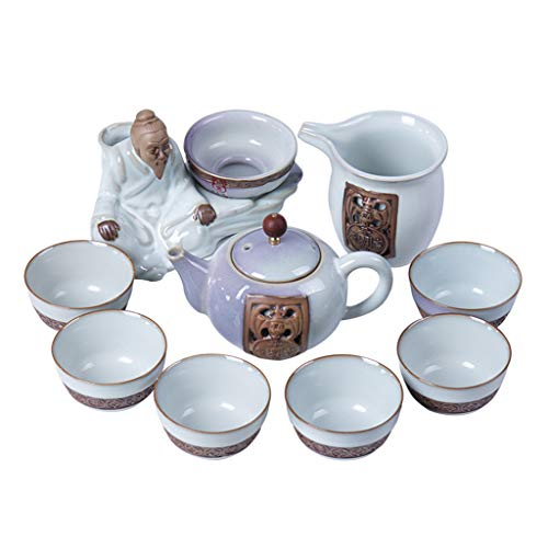 Teapots & Coffee Servers Tea set 6 cups semi-automatic lazy tea maker set of ceramic teapot tea cup coffee cup best gift (Color : Blue)