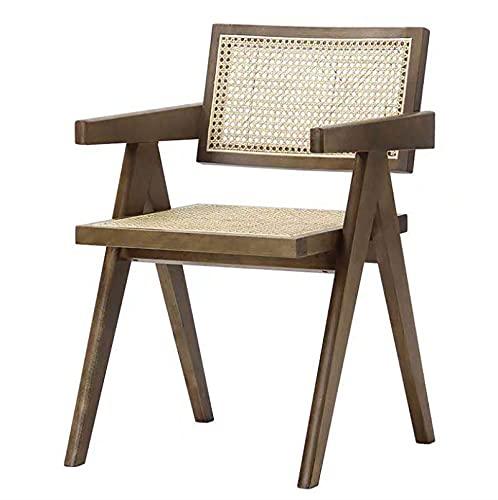 Silla de comedor de tienda de postres con reposabrazos de madera maciza nórdica, silla de ratán de restaurante, silla de oficina de hotel, silla de balcón de ocio, silla de jardín para acampar, silla