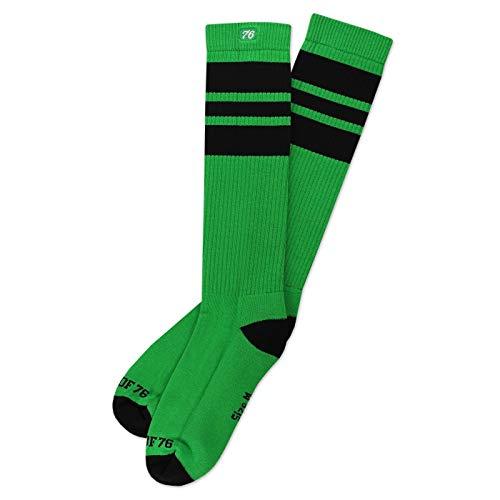 Spirit of 76 The black Blacks | Hohe Retro Socken mit Streifen Grün, Schwarz gestreift | stylische Unisex Kniestrümpfe (XL (47-50))