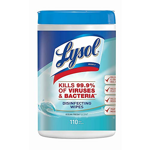 Lysol 93010 Disinfecting Wipes, Ocean Fresh Scent, 7 x 8, White, 110/Canister