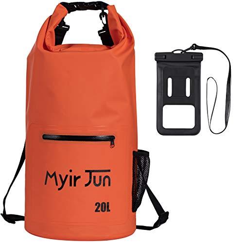Myir JUN Bolsas Impermeables, Bolsa Estanca Impermeable Bolsa Seca Impermeable para Canotaje Bolsa Seca para Kayak Bolsa a la Deriva con Saco Seco Impermeable para Telefono (Naranja, 10 L)