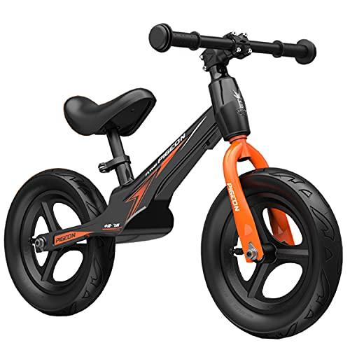 WYYY 12' Balance Bike Magnesio Alloy Frame No Pedal Training Bicycle para Niños De 3 A 7 Años(Color:Negro)