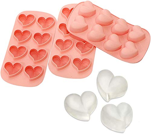 Webake Eiswürfelform Herz Silikon Eiswürfelbehälter 3 Stück Eiswürfel Form für Bier, Cocktails, Whisky, Wasser, Soda, Obst - Rosa
