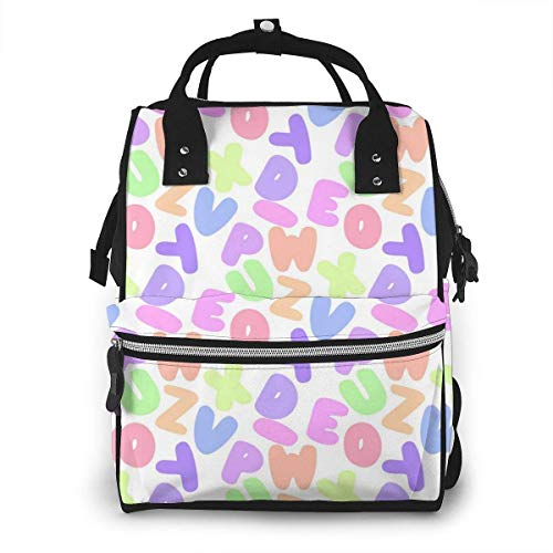 NHJYU Sac à langer, Large Capacity Waterproof Travel Ma-na-ger,baby Care Replacement Bag Versatile Stylish And Durable, Suitable For Mom And Dad,Colorful Letter Pattern