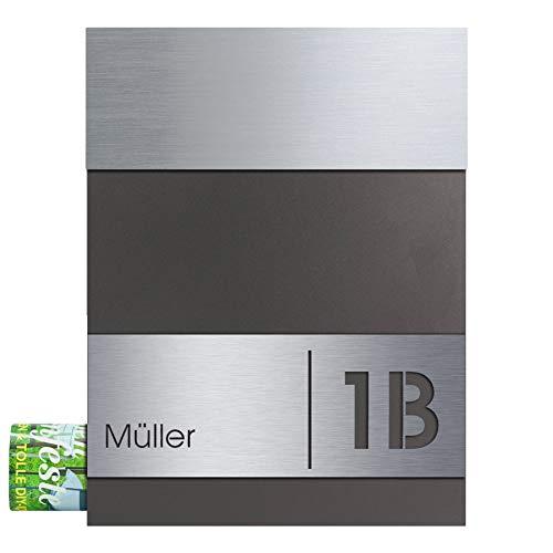 Briefkasten mit Zeitungsfach Edelstahl/anthrazit-eisenglimmer (DB 703) MOCAVI Box 510 Postkasten mit Hausnummer und Name Gravur, moderner Briefkasten Edelstahl-Deckel V4A groß