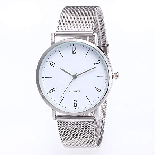 JZDH Frauen-Uhren Art Und Weise Digitale Oberflächen Siebband Student-Uhr-beiläufige Dameuhr Paar Handuhr Dame Armbanduhr (Color : Silver)