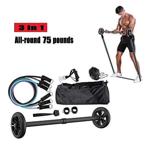 ADLIN Klimmzugstangen, Widerstand-Bänder Set Bauch-Übung Roller Workout-Bänder for Resistance Training Home Workouts Gym Schwarz