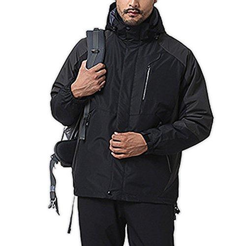 Libertepe Jacket Manteau Capuche Coupe Vent Imperméable Vest Tops Blouson pour Alpinisme Sport Homme Hiver Noir FR48-50(tag sizeL)