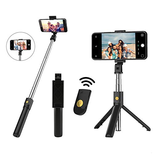 Selfie Stick Tripod- Bluetooth Wireless Remote Shutter Tripod, Mini Extendable Aluminum Cell Phone Stand, 270° Rotation Portable Monopod Compatible with iPhone and Android Smartphone