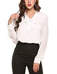 ANGVNS Womens Casual Chiffon Ladies V-Neck Cuffed Sleeve Blouse Tops (XX-Large, White) #1