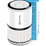 GENIANI Home Air Purifier with True HEPA Filter for Allergies and Pets/Smoke/Mold/Germs and Dust - Odor Eliminator and Air Cleaner for Large Room with Optional Night Light - 2-YEAR WARRANTY