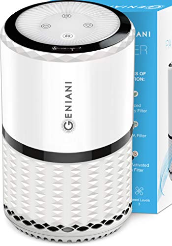 Product Image of the GENIANI Home Air Purifier with True HEPA Filter for Allergies and Pets / Smoke / Mold / Germs and Dust - Odor Eliminator and Air Cleaner for Large Room with Optional Night Light - 2-YEAR WARRANTY