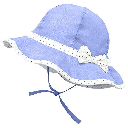 ANIMQUE Mädchen Sonnenhut Frühling Sommer Fischerhut UV Schutz Urlaub Baumwolle Hut Polka Punkte Fliege und Band Hellblau, Kopfumfang 48cm M
