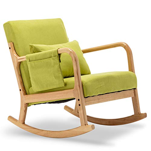Apelila Rocking Chair, Mid Century High Back Armchair Modern Glider Rocker Upholstered Fabric Padded Seat Side Pocket Pillow for Nursery (Green)