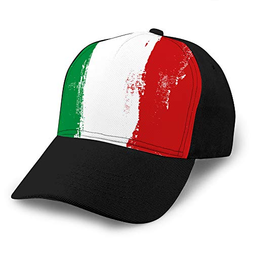 336 Sombrero clásico de papá de algodón Gorra Lisa Ajustable Gorra de béisbol de Mezclilla Personalizada para Adultos Italia Pinceladas Coloridas Bandera Pintada Tamaño Ajustable