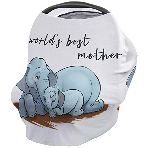 Baby Stroller Cover Breastfeeding Nursing Shawl, Ultra Soft Breathable Breastfeeding Towel for Infant Carseat Canopy, Shopping Cart, Highchair - World's Best Mother Cute Elephant Mother and Child