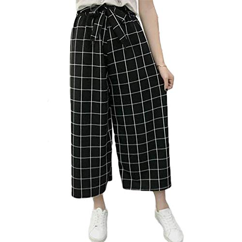 Missby® Black Checkered Palazzo with White Dotted Checks for Women (Casual and Formal Wear) - Suitable for All Occassions