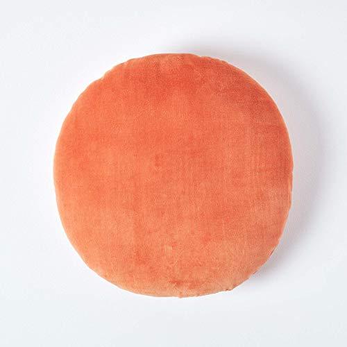 HOMESCAPES Burnt Orange Round Velvet Cushion Super Soft Cotton Velvet Filled Scatter Cushion Thick Plain Accent Throw Pillow for Sofa and Bed Decoration, 40cm (15') Diameter