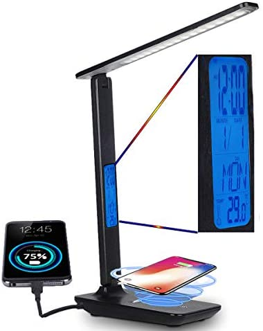 LED Desk Lamp with Wireless Charging Dimmable LCD Display USB Charging Port Adjustable Color product image
