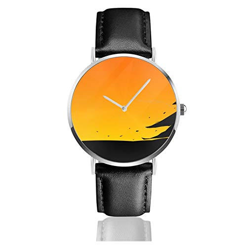 Artistic Bonsai Japan Men Wrist Watches Genuine Leather For Gents Teenagers Boys