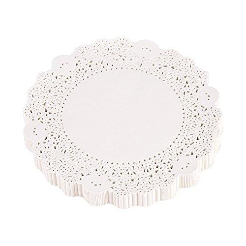 Fdit 180er Papierspitze Kuchen Untersetzer Deckchen Matte ausgehöhlten dekorative weiße Rechteck für Handwerk Hochzeit Dekoration(14cm)
