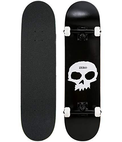 """Zero Skateboards Single Skull Black/White Complete Skateboard - 8"""" x 32"""""""