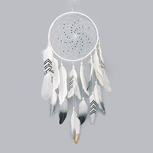 Traumfänger – Traumfänger Weiß Federn Dekoration Haus Wand Innen Ornament handgefertigt Hängekorb Geschenke Mädchen Kinder - Weiß