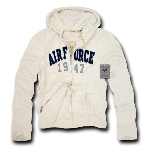 Rapiddominance Air Force DeLuxe Zip Up Hoodie, Cream, X-Large