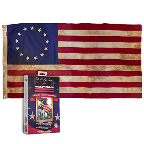 Valley Forge, American Flag, Cotton, 3' x 5', 100% Made in USA, Heritage Series, Antiqued Colonial 13-Star US American Flag