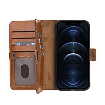 BlackBrook by Burkley Case iPhone 12 Pro Max Wallet Case - Windsor Genuine Leather Bi-Fold Detachable Wallet Case for iPhone 12 Pro Max  6.7   - Magnetic Card Holder with Kickstand  Burnished Tan