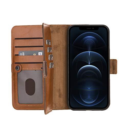 "BlackBrook by Burkley Case iPhone 12 & iPhone 12 Pro Wallet Case - Windsor Genuine Leather Magnetic Bi-Fold Detachable Wallet Case for iPhone 12 & iPhone 12 Pro (6.1"") w/Kickstand"