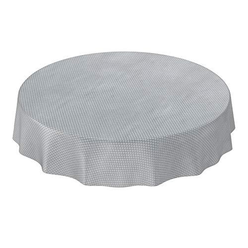 ANRO Wachstuch Tischdecke abwaschbar Wachstuchtischdecke Wachstischdecke Punkte Silber Relief Textiloptik Rund 120cm