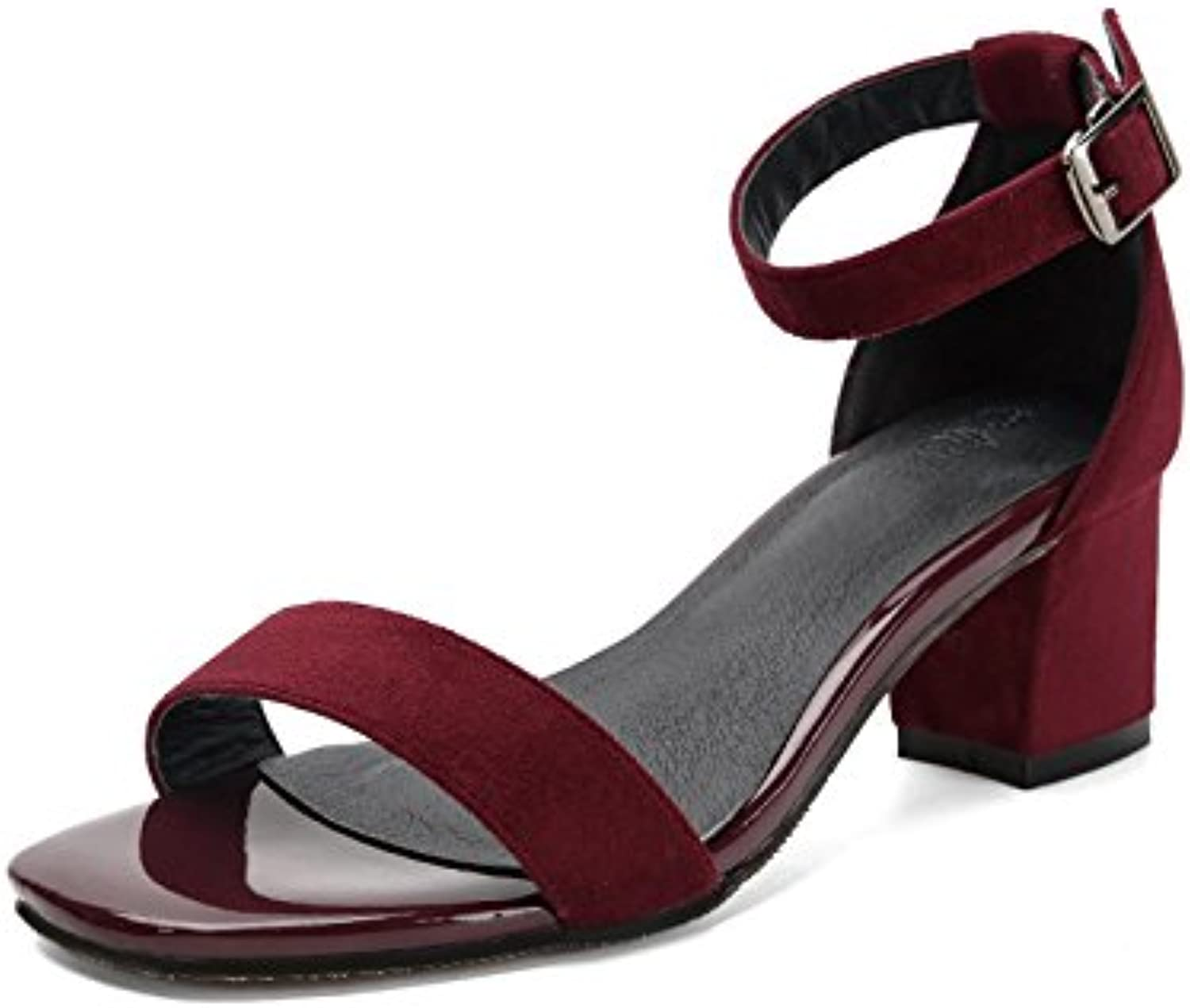 WHW Women shoes a field-open toe high-heel shoes ,red,34 rough with students
