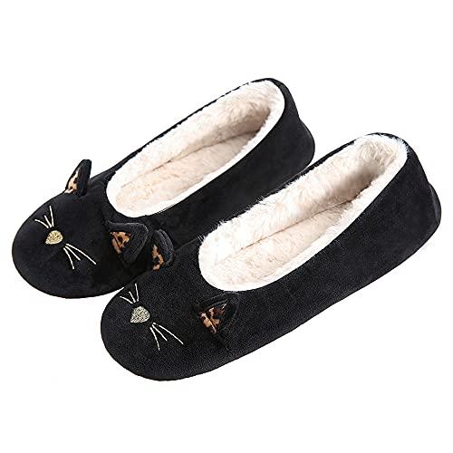 [GaraTia] ルームシューズ レディース 動物スリッパ かわいい 室内履き 暖かい 秋冬 ふわふわ おしゃれ 滑り止め 洗える 静音 猫 24.5-25